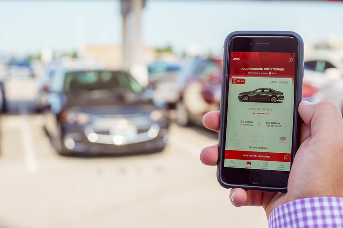 A hand holding a smartphone with the Avis app open, with a parking lot in the background.