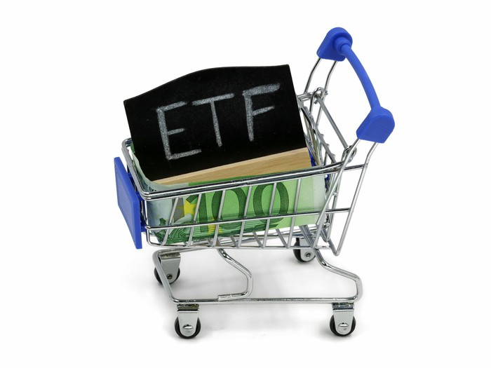 A box marked ETF on the top sitting in a grocery shopping cart.