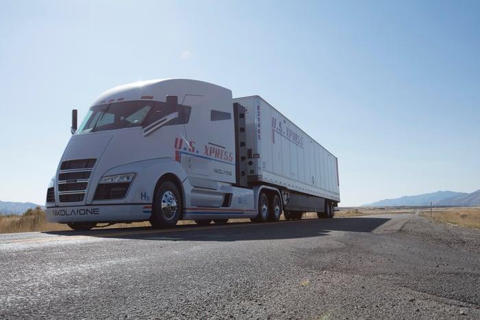 A Nikola tractor-trailer truck.