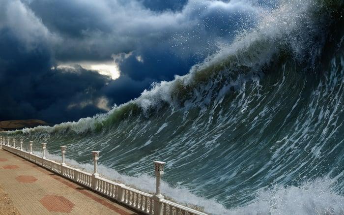 a giant tsunami heading towards land.