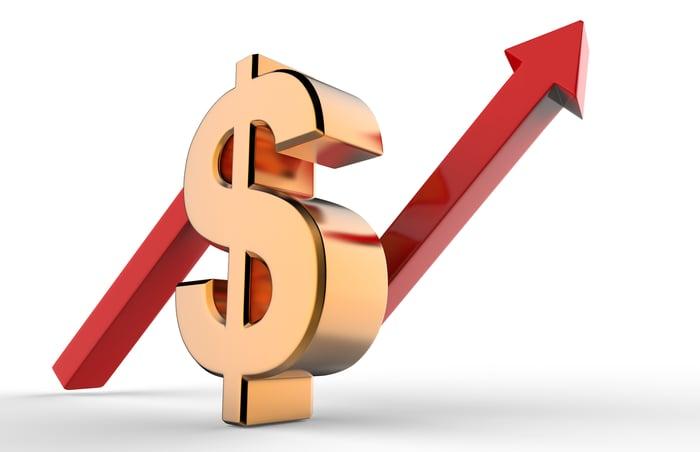 Dollar symbol with a rising arrow