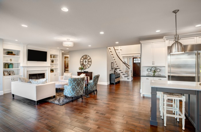 A furnished living room and kitchen