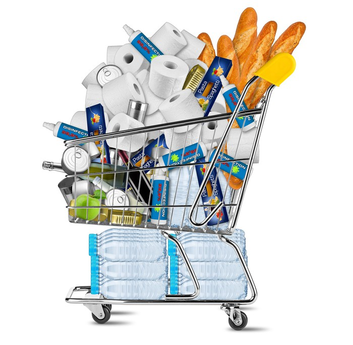 Shopping cart filled with essential items
