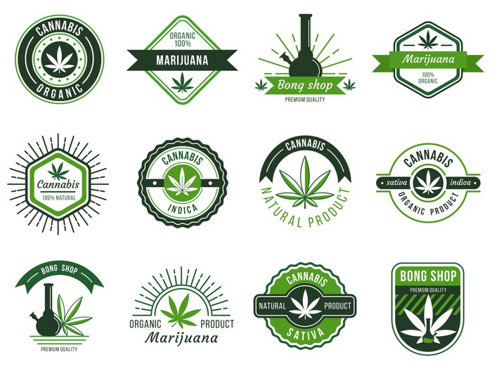 A range of cannabis logos and designs