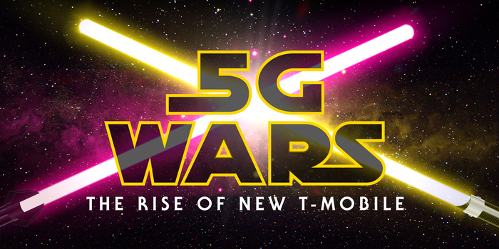 "A picture of two light sabers crossing and words that say ""5G Wars the rise of new T-Mobile."""