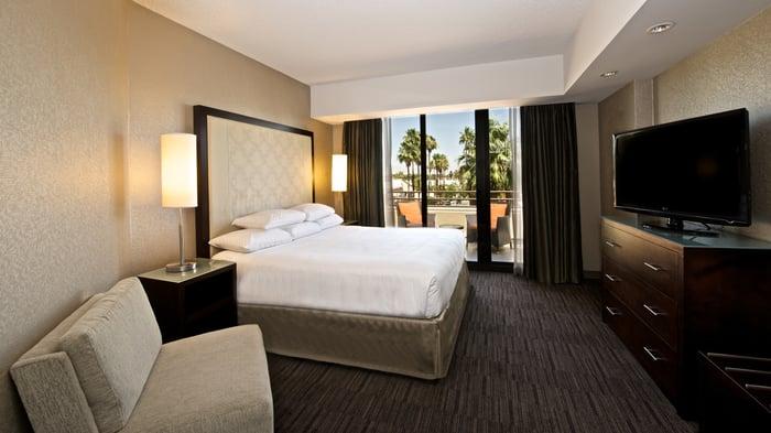 A guestroom at Hyatt Palm Springs.