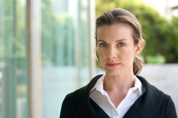 Woman with serious expression