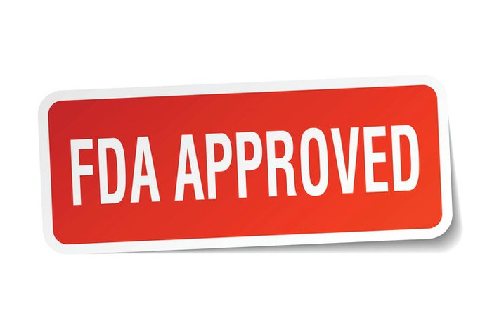 """FDA approved"" in white letters on a red background."