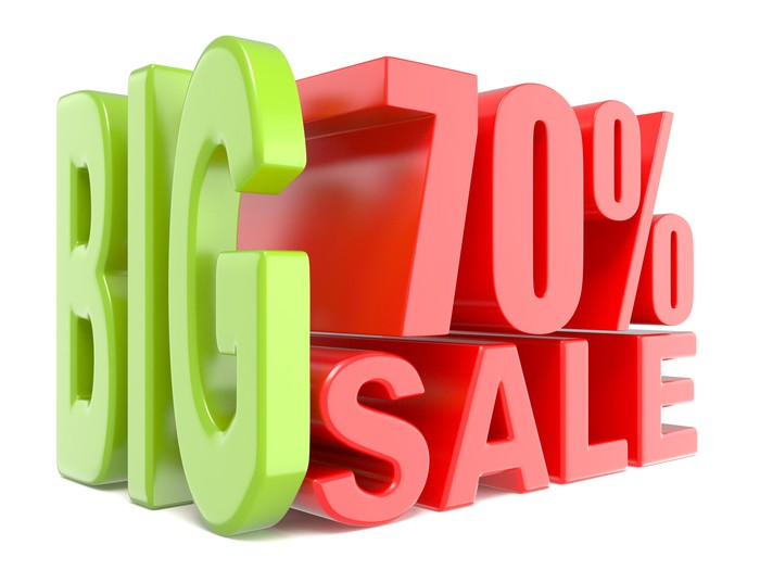 Big 70 percent sale in green and red block letters
