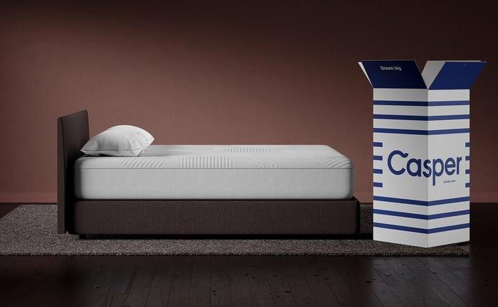 A bed next to a Casper box