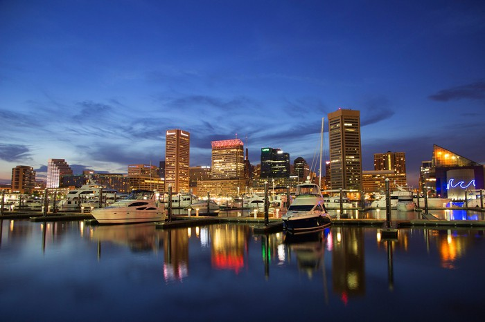 The Baltimore skyline at dusk