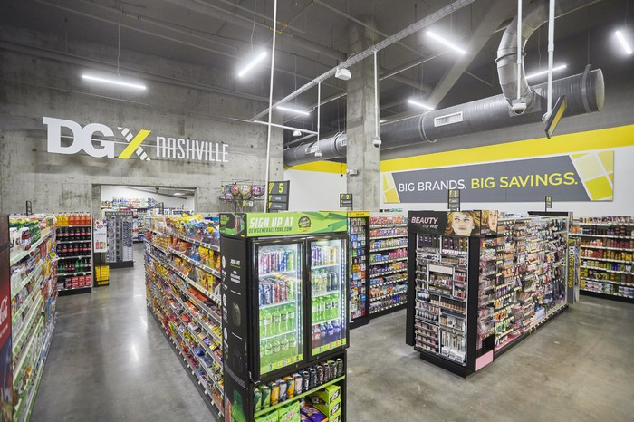 products line the shelves of a Dollar General DGX store