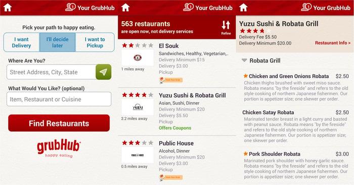 Grubhub app screenshot showing names of restaurants and menu items.