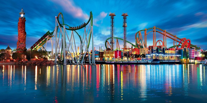 Universal Orlando's Islands of Adventure, a panoramic view at dusk.