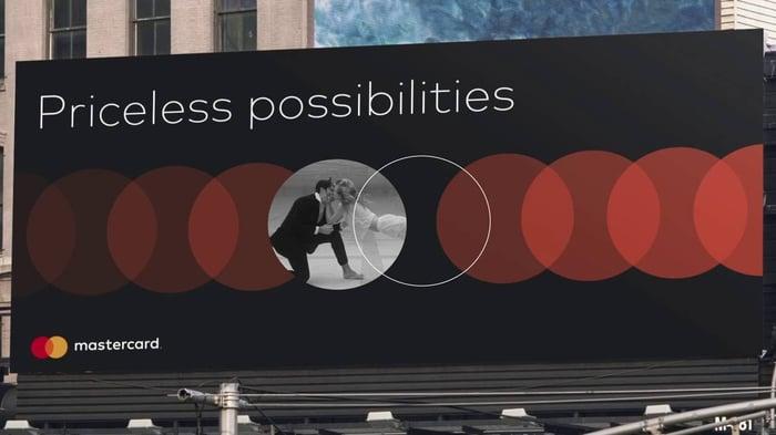 A Mastercard billboard.