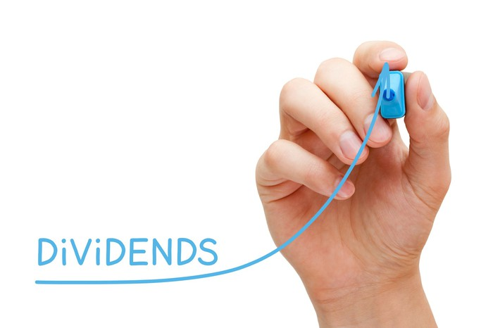 A hand holding a blue marker. The line it's drawing increasingly points upward, and the word dividends is written above it.
