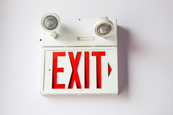 An exit sign in a building.