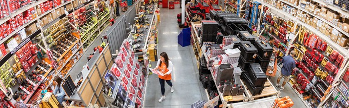 Interior of a Home Depot store.