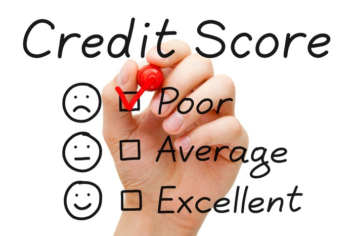 Under the heading CREDIT SCORE, a hand with a marker checks the option POOR, leaving AVERAGE and EXCELLENT unmarked below.