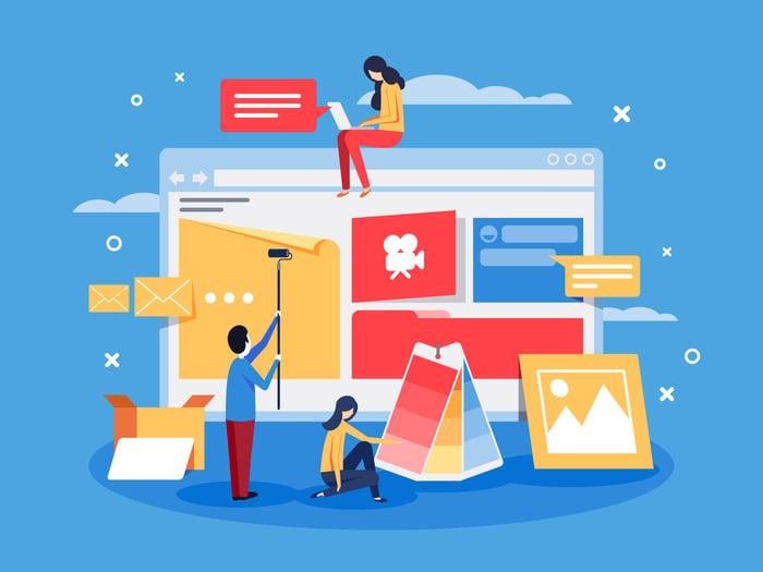 Illustration of people designing a website
