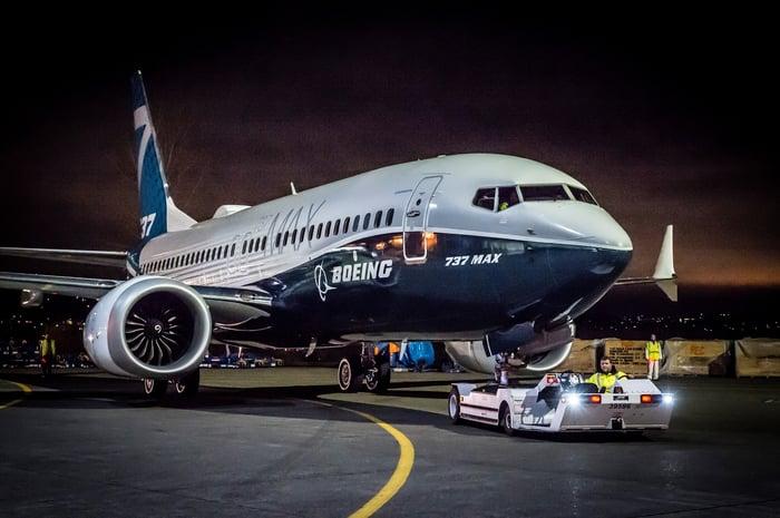 Boeing's 737 Max on tug.