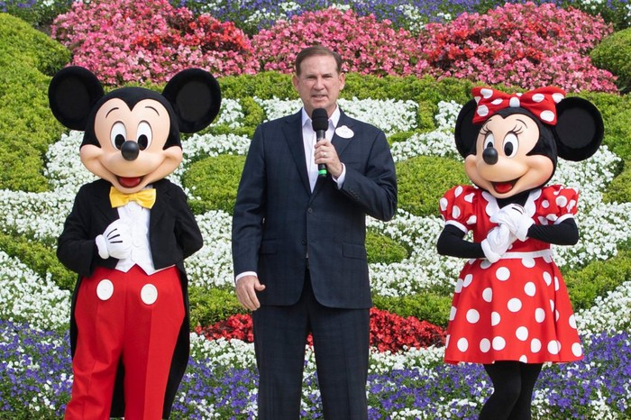 Bob Iger with Mickey and Minnie Mouse