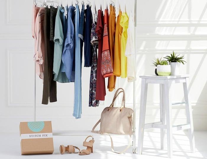 A closet featuring Stitch Fix clothes.