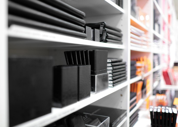 retail shelf of office products