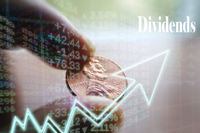 "A person's fingers holding a penny behind a rising chart pointing to the word ""dividends."""