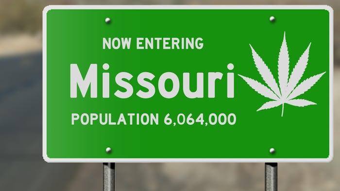 Missouri road sign with marijuana leaf.