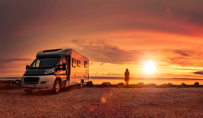 An RV parked next to a large lake as the sun sets