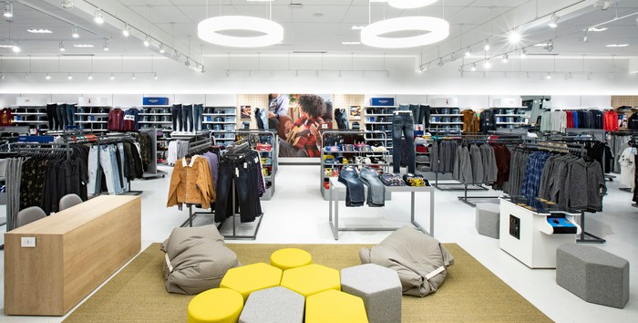 Interior of a department store.