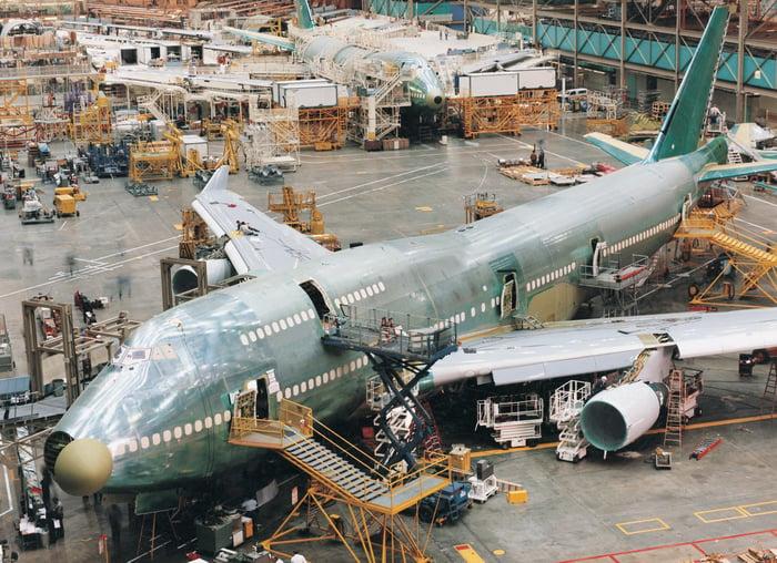 A jet aircraft assembly line