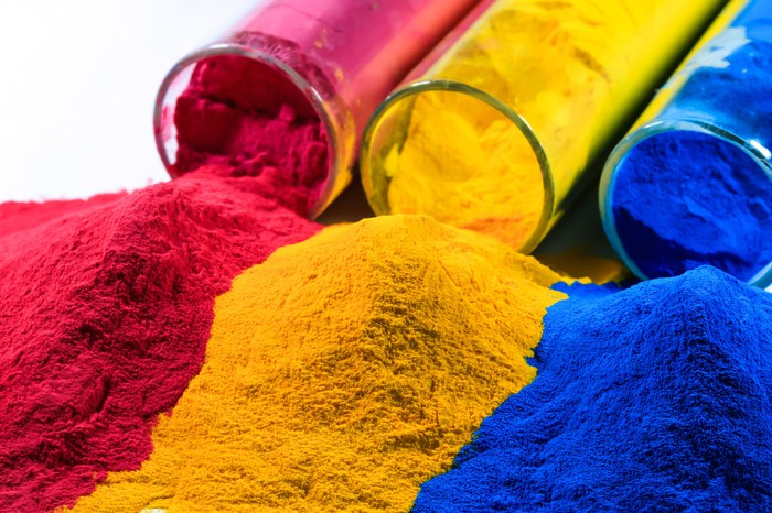 Bright red, yellow, and blue powder coatings.