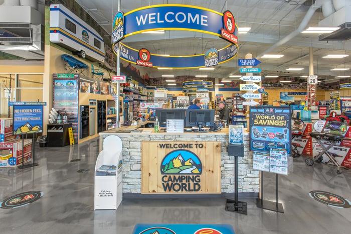 Camping World store interior.