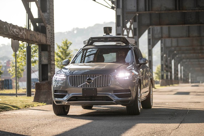 A vehicle powered by Uber's driverless technology