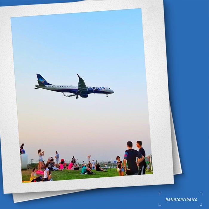 Azul airplane in the air polaroid