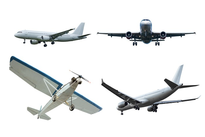 4 airplanes viewed from various angles