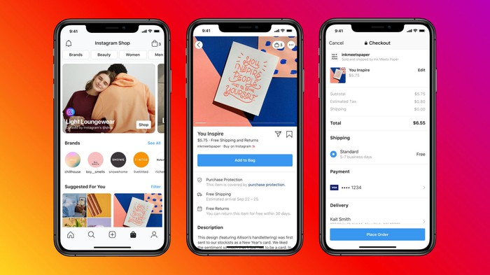 Three smartphones showing various views of Facebook Shops on Instagram.