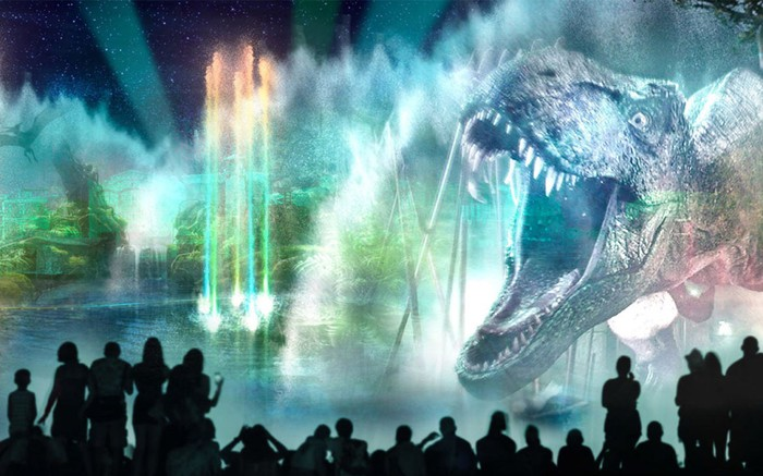 Concept art for Universal Studios Florida's Cinematic Celebration, with a T. rex projected on a water wall