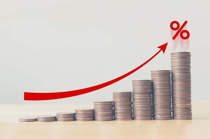 Increasing stacks of coins with red arrow and percent sign above.
