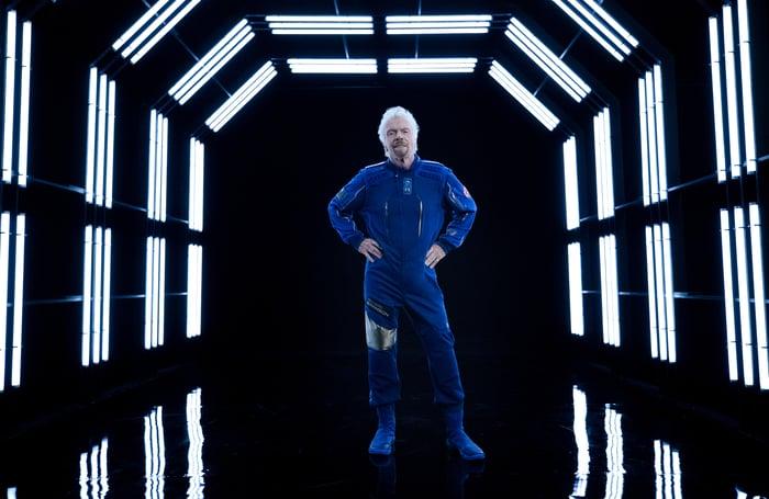 Sir Richard Branson in a Virgin Galactic flight suit