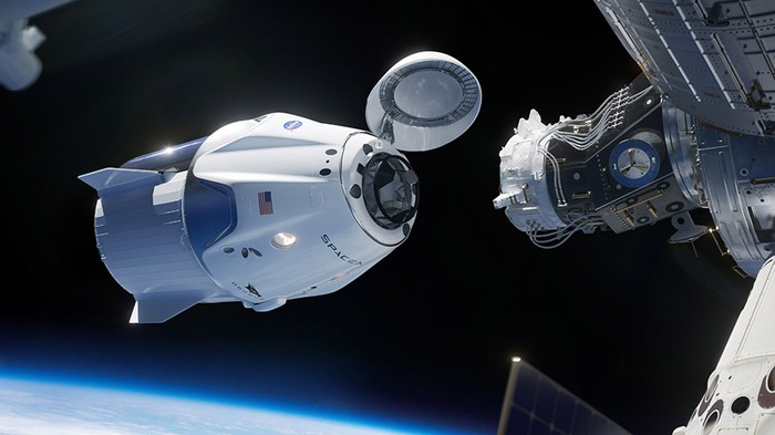 Artist's rendering of SpaceX Crew Dragon docking with ISS.