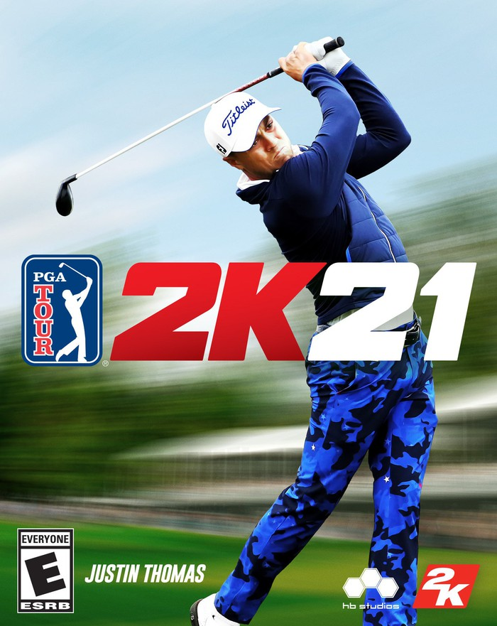 The cover of Take-Two Interactive's PGA Tour 2K21 game, featuring golfer Justin Thomas.