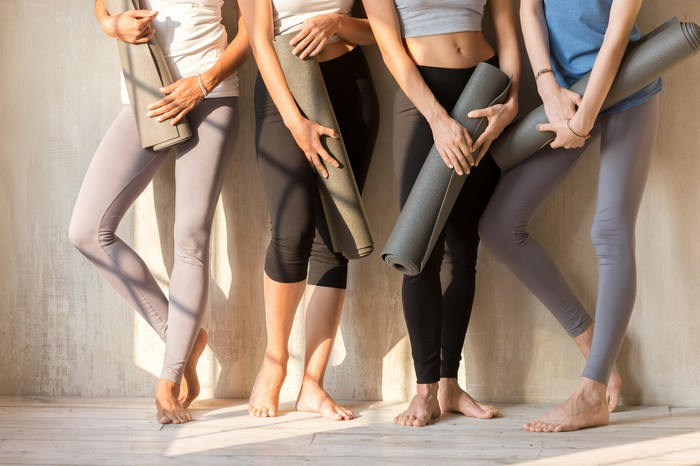 Yoga clothing and mats.