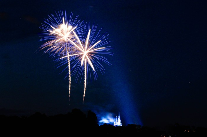 Fireworks in the night sky with a Disney castle in the backgroun.
