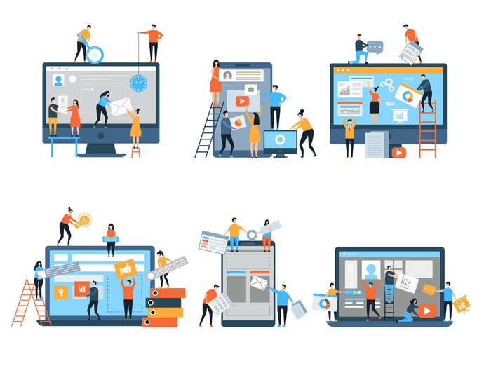 Cartoon images of people working together doing physical construction of webpages on laptops and mobile phones.