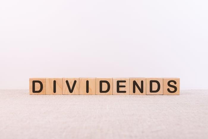 "Letter blocks spelling the word ""dividends."""