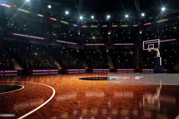 An empty basketball court