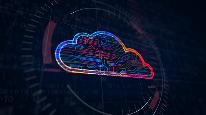 An illustration of a cloud against a digital background.